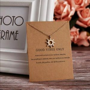 Simple Good Vibes Only Sun Charm Pendant Necklac